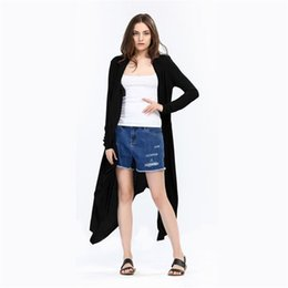 Wholesale New Women Front Open Cardigan - 2017 New Autumn Winter Women Long Sleeve Solid Knitted Cardigan Elegant Irregualr Cardigan Women Long Poncho Femme Plus Size MDL171008