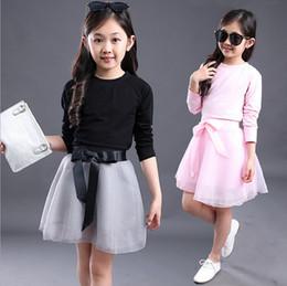 Wholesale New Age Skirts - 2016 New Girl Princess Clothing Skirt+T Shirt 2 Pcs Sets 4-14 Age Organza Tutu Skirt Set Clothes Sets Baby Girls Fashion Suits