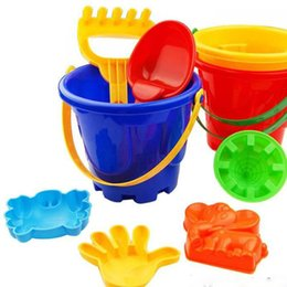 Wholesale Wholesale Sand Buckets - 2016 Funny Gift Set of 7 Winter Summer Seaside Beach Toy Child Spade Rake Bucket Kit Sand Snow Building Molds for kids