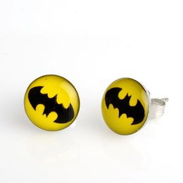Wholesale Fashion Deals - Super Deal! Hot Sell Free Shipping 18 Pairs Fashion 10mm Yellow Batman Symbol Stainless Steel Stud Earring, Fashion Earring