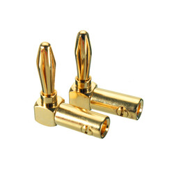 Wholesale Gold Plated Banana Plugs - Wholesale- 8pcs 4mm Gold-plated Speaker Banana Plug 90 Degree Audio Speaker Connector Elbow Connector