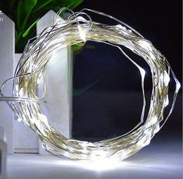 Wholesale Mini Fairy String Lights Battery - 10M 100Led Silver Wire Copper Wire mini String Fairy Lights Fairy String Lights lamp for wedding Christmas Holiday Party LLFA
