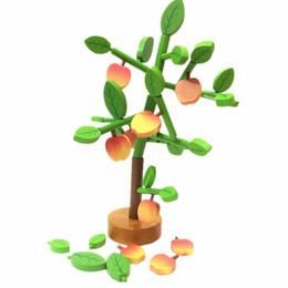 Wholesale Wooden Assembly Toys - New Arrival Baby Toys Fruit Tree Assembly Game Set Wooden Toys 50Pcs Model Building Kits Educational Blcoks Infant Birthday Gift