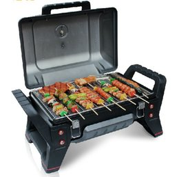 Barbecue portatile a gas per auto da viaggio BARBECUE 62 * 43 * 39 cm ha il riduttore di pressione del termometro sul fondo del serbatoio dell'olio 006 da doghe di bambù fornitori