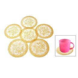 Wholesale Round Dinning Tables - Wholesale- 6 Exquisite Gold-tone Flower Dinning Table COASTERS SET