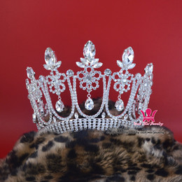 Wholesale Wholesale Pageant Accessories - Pageant Crowns Tiaras Lager Adjustable Miss Beauty Queen Bridal Princess Wedding Hair Accessories Party Prom Night Clup Show Headdress Mo032