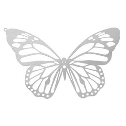 "Wholesale 14k Butterfly Pendant - Stainless Steel Charm Pendants Butterfly Silver Tone Hollow 51mm(2"") x 33mm(1 2 8""),10 PCs 2016 new jewelry making DIY"