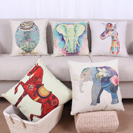 Wholesale Giraffe Throw - 45cm Elephant Red Horse Owl Giraffe Cotton Linen Fabric Throw Pillow 18inch Fashion Hotal Office Bedroom Decorate Sofa Chair Cushion