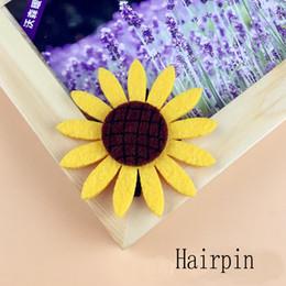 Wholesale Cute Wedding Hair - 100pcs 5 Colors Women Cute Sunflowers Hair Clips Hair Accessories Girls Sun Flowers Hairpins
