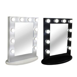 Wholesale Makeup Mirror Bulb - Hollywood Tabletops Makeup Lighted Mirror Vanity Light with Dimmer Aluminum Frame Stage Beauty Mirror+FREE 12 LED bulbs