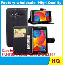 Wholesale Credit Card Book - Leather Case for SAMSUNG galaxy Core LTE G386F holster Wallet Cases Folio Book Cover with Kickstand Credit Card Holder, Cash Clip 30PCS DHL