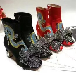 Wholesale Satin Crystal Shoes - 2017 New Brand Embroidered Dragon Pattern Women Satin Ankle Boots Removable Crystal Bow Tie Design Crystal Mirrored Heel Fashion Shoes A63