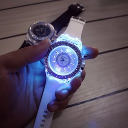 Wholesale Relojes Geneva Silicone - 2016 LED Sport Watches Geneva Luminous Women Quartz Watch ladies Women Silicone Wristwatches glowing Relojes Mujer 8 colors