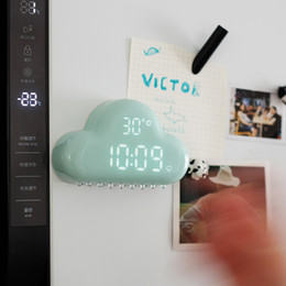 Wholesale Function Desk - Creative Muid Rain Cloud Alarm Clock Display Time and Temperature Battery or USB rechargeable Cloud Clock Sound Actived desk & hanging clock