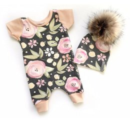 Wholesale Girls Short Floral Jumpsuit - Baby Girl Rompers Cotton Newborn Baby Clothes Kids Girl Floral Romper Infant Girls Jumpsuit Kids Clothing One-piece Outfits Baby Onesies