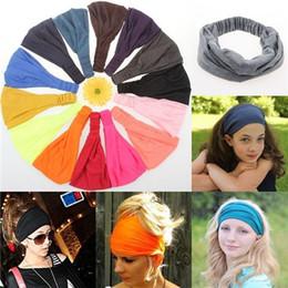 Wholesale Soft Band For Hair - 1Pcs Sport Yoga Headband Bandana hijab Turban For Women Stretch Headwrap Soft Stretch Cotton Headband Turbante Hair Accessories