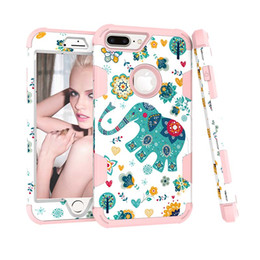 Wholesale Iphone Elephant Silicone Case - For iPhone X 8 7 6S Plus 3 In 1 Hybrid Shockproof Case Hard PC Cute Cartoon Elephant Soft Silicone Cover For Samsung S8 Plus note 8 OPP BAG