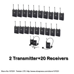 Wholesale Takstar Tour Guide System - NEW Tour guiding training Takstar UHF-938 UHF frequency Wireless Tour Guide System 50m Operating Range 2 Transmitter+20Receivers by aibierte