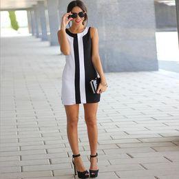 Wholesale Knee Joint Line - Summer Split Joint Sleeveless Round Neck Mini- Sexy Dolman Sleeve Dress WOMENS PLUS SIZE Office Green Designs 2016 Dresses