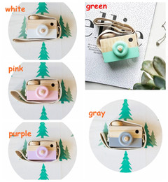 Wholesale Mini Travel Cooler - 5colors Childrens Wooden Camera Christmas Kids cool travel Mini toy Baby cute Safe Natural Birthday Gift decoration Children's Room