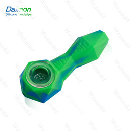 Wholesale Cheap Glass Tobacco Pipes Wholesale - Waxmaid New Daimon Silicone Mini Pipe Cheap Colored Silicone Smoking Glass Pipe Bubbler Water Pipe Tobacco Hand Pipes 11 Colors