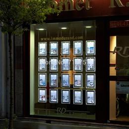 20 PCS Agente Imobiliário / Agente de Viagens Janela Pendurado Acrílico Display LED Quadro Poster Duplo Frente e Verso A4 Caixas de Luz de Fornecedores de expositores de design