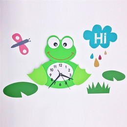 3d stickers frogs Coupons - 3D Animal Wall Clock Frog Pattern Silent Quartz Clock Movement Easy to Read Home Office School Watch Clock