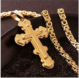 Wholesale European Style Jewelry Necklace - 2017 new European and American classic hot style jewelry gold multi-layer lattice cross titanium steel pendant necklace wholesale