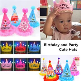 Wholesale Princess Birthday Supplies - Baby Kids Birthday Tiara Crown Light-Up LED Blinking Flashing Headbands Cone Shape Hairband Party Supplies Princess Hat Hair Accessories