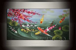 Wholesale Modern Cherry Blossom Decor - 100% Handmade Wall Art Décor Abstract Oil Painting Cherry Blossom Feng Shui Koi Fish Painting on Canvas Modern Home for living Decor Fsh1001