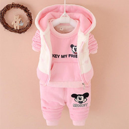 Wholesale Cute Baby Suits For Boys - Lovely Cartoon Kids Clothing Sets Winter Warm Thick Childrens Suits Cute Animals Baby Suits with Multi Style for Boys and Girls I003