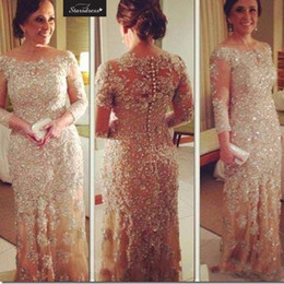 Wholesale Dress Summer Lace Breast - 2016 New Arrival Champagne Bling Mermaid Applique Beading Sequined Evening Dresses Long Sleeve Mother of the Brides Dresses