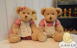 Wholesale 28cm Teddy Bears - tuffed Animals Stuffed Plush Animals Free shipping 28cm 2pcs pair lovely mini couple teddy bear with cloth toy dolls girls birthday&amp...