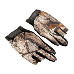Wholesale Fish Finger - 1 Pair 3 Cut Finger Anti Slip Non Slip Green Camo Camouflage Fish Gloves Tackle Tool Sports