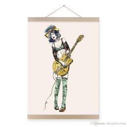 Wholesale impressionist drawings - Mild Art Guitar Girl Modern Cartoon A4 Poster Prints Pop Rock Roll Hippie Music Hipster Drawing Big Canvas Painting Bedroom Wall Art Gifts