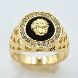 Wholesale 14k Gold Couple Rings - 18 K Gold Set Auger Lion Head of Kings Ring Couple Ring