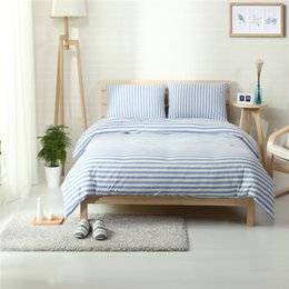 Wholesale White Cotton Sheets Wholesale - Hot sale Home textile100%High Quality Cotton knitting sky blue rand white stripe 4 piece bedding sets queen king size duvet cover bedd sheet