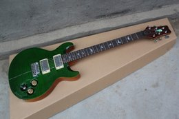 Wholesale Abalone Bird - Private Stock Eagle Reed Smith Flame Maple Abalone Stripe Top Green Electric Guitar Abalone Birds Inlay Tremolo Bridge Chrome Hardware