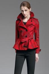 Chaqueta delgada de color caqui online-¡Nueva llegada! Chaqueta de estilo corto británico de moda para mujer / diseñador de marca de alta calidad slim fit chaqueta corta para mujer talla S-XXL de color caqui, rojo