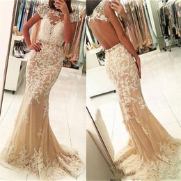 Wholesale Gold Advance - 2017 Advanced Custom Champagne Sheath Prom Dresses Bateau Neck Crystal Beading Sweep Train Lace Tulle Evening Gown Pageant Dress