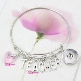 Wholesale Teachers Day Gifts Wholesale - New Arrival Interchangeable Pink Crystal Heart Initials Letter TEACHER Wire Expandable DIY Snaps Bangles Bracelets For Teacher Day Gift