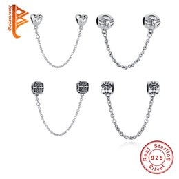 Wholesale European Sterling Silver Safety Chain - BELAWANG 4 Styles 925 Sterling Silver Safety Chain Charms European Floating Charms Beads Fit Pandora Charm Bracelets&Bangles Jewelry Making