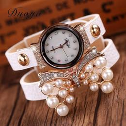 Wholesale Yellow Gold Pearl Bracelet - hot Watches Women Luxury Bow Pearl Bracelet Wristwatch Women Fashion Leather Electronics Watch XR536