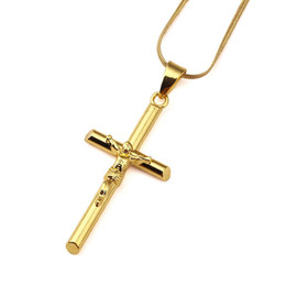 Wholesale Pendant Steel Jewelry - Mens Jesus Cross Chokers Necklace 18k Gold Fashion Hip Hop Jewelry Design Long 17.7inch Chains Punk Rock Rap Men Pendant Necklaces