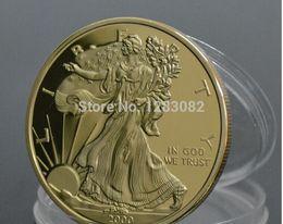 águila de oro americana Rebajas Recuerdo de American Eagle Gold Clad Envío gratuito de monedas Venta al por mayor 5 piezas / lote 100 MILLS.999 Año de oro 2000 Liberty Coin