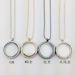 Wholesale Round Photo Lockets Silver Plate - Women Statement necklaces openable glass box Locket Necklaces Round diamond DIY photo frame necklaces free shipping