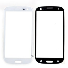 Wholesale Galaxy S3 Front Lens Replacement - Front Screen Lens Outer Glass For Samsung Galaxy S3 I9300 Replacement Repair Part Black White 20pcs lot Free Shipping
