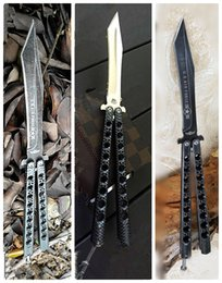 Wholesale Birds Models - Wholesale large butterfly knives 3 model black bird balisong butterfly knife Water droplets blade Camping  home cutting tools