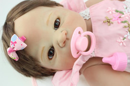 Wholesale Realistic Silicone Baby Doll - Full Silicone Vinyl 23 inch Reborn Baby Dolls Realistic Kid Play Doll Handmade Baby Toy Lifelike Princess Girl Doll