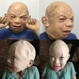Wholesale Fancy Dress Children - 2 Styles Crying Baby Face Mask Realistic Halloween Latex Overhead Crying Baby Mask Fancy Dress Props Party Mask CCA7436 20pcs
